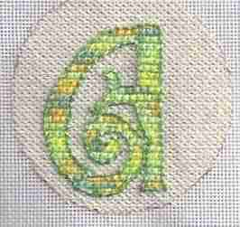 free needlepoint christmas ornament with initial, designed by janet perry