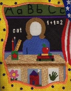 teacher picture frame needlepoint, designed by sandy grossman-morris, stitch guide by needlepoint expert janet m. perry