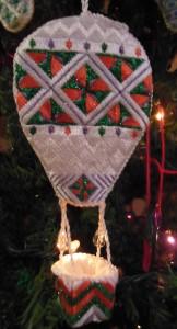hot air balloon needlepoint ornament by pat mazu