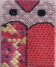 learn-a-stitch needlepoint owl, designed and stitched by needlepoint expert janet m. perry