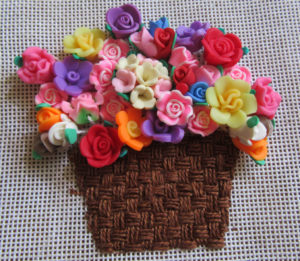 Needlepoint flower basket canvas